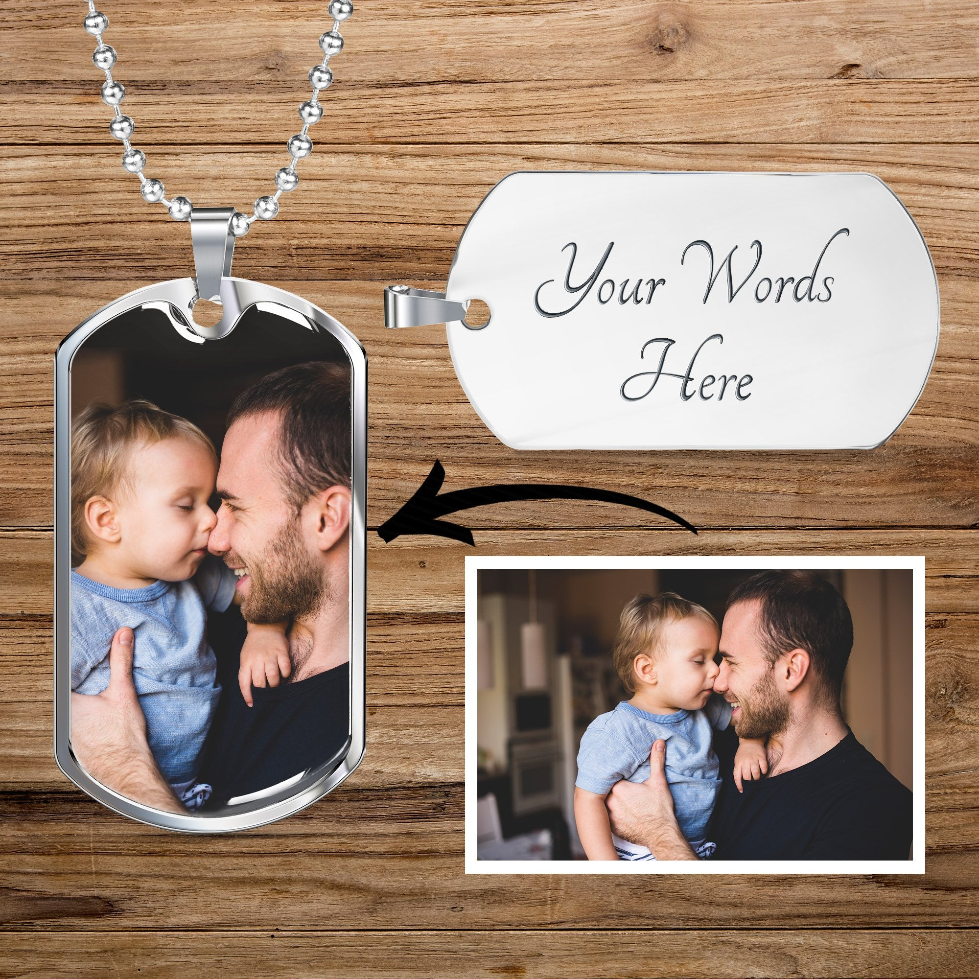 Personalized Custom Photo Dog Tag Necklace