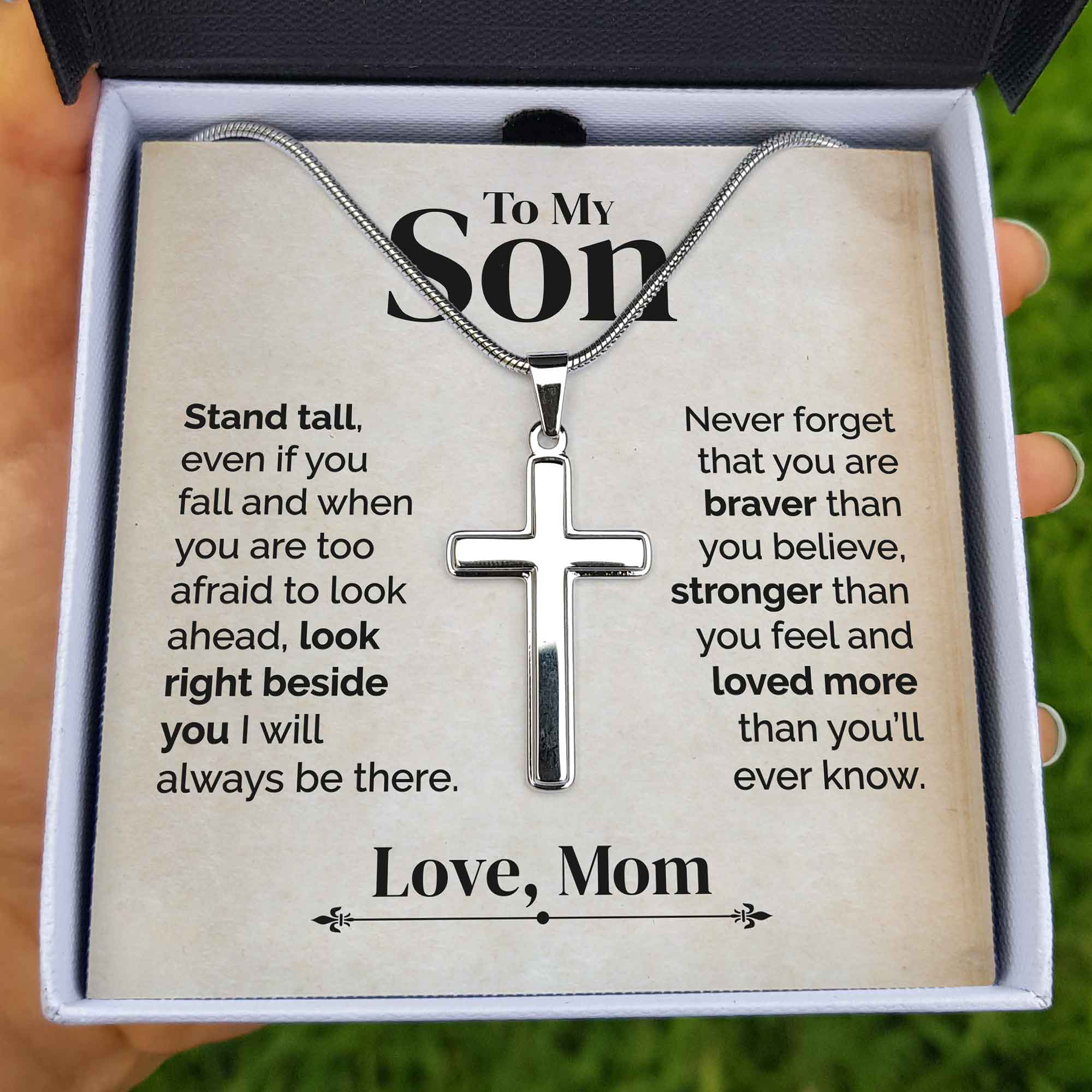 To My Son - Stand Tall - Cross Necklace