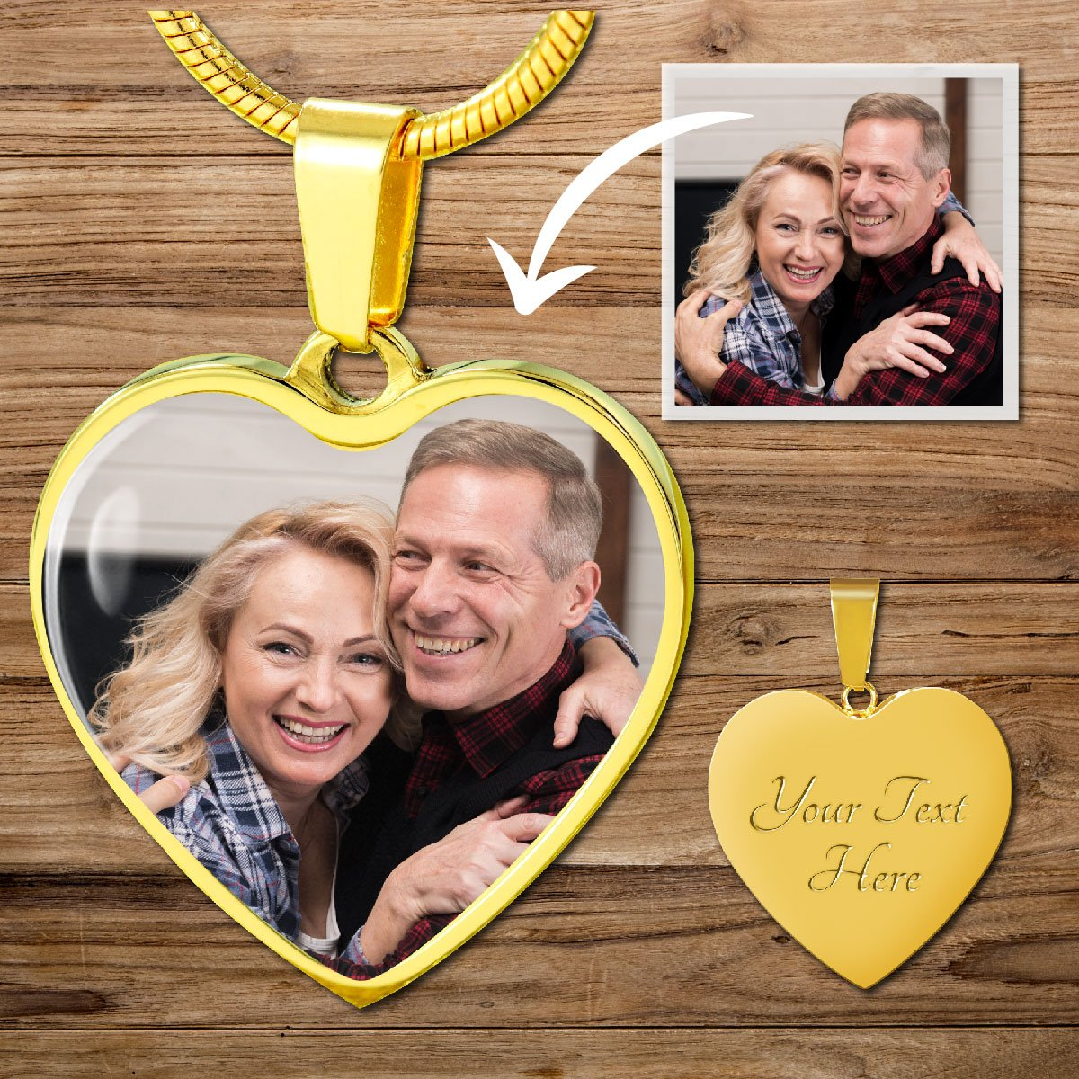 Personalized Custom Photo Heart Shaped Necklace