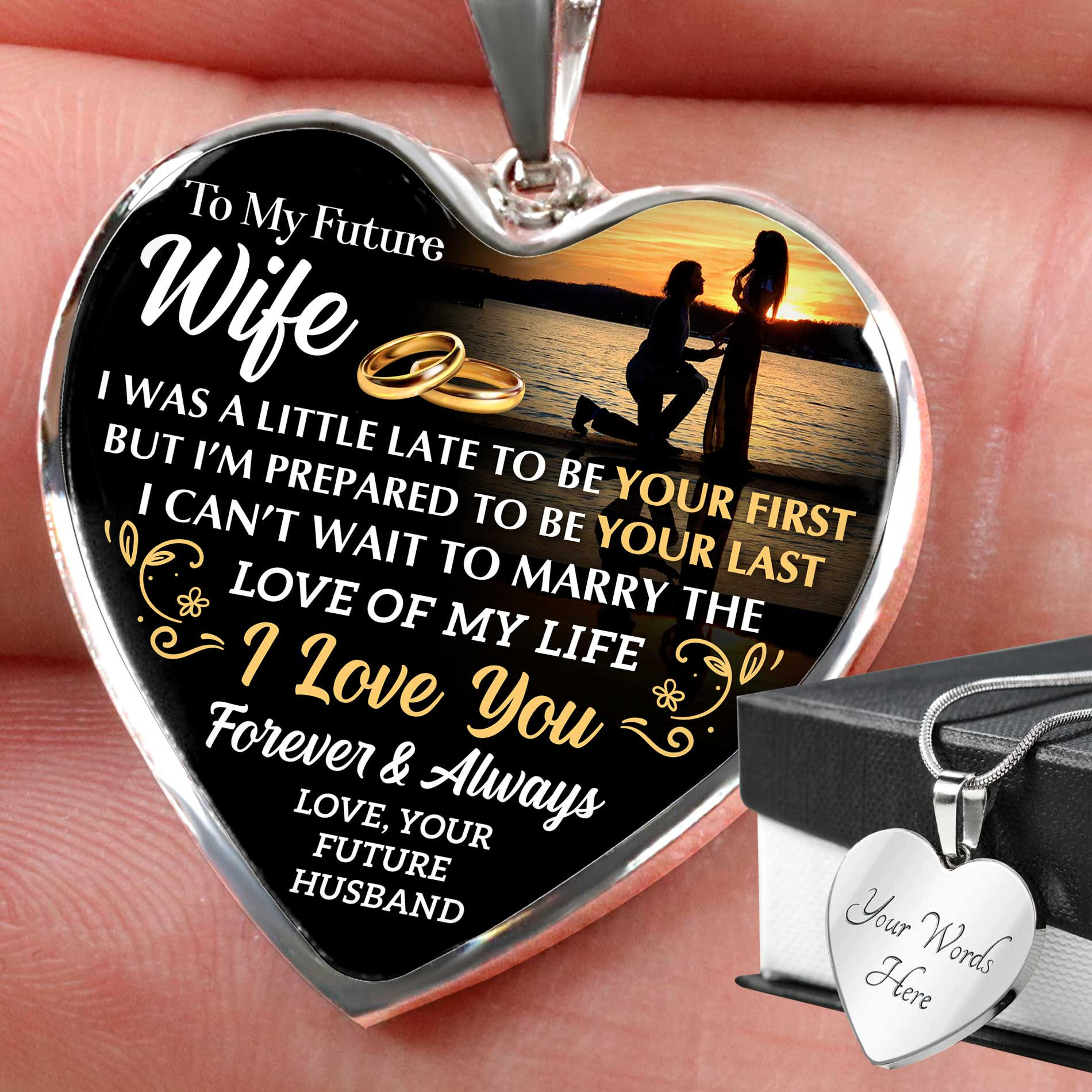 To My Future Wife - Love of My Life - Heart Pendant