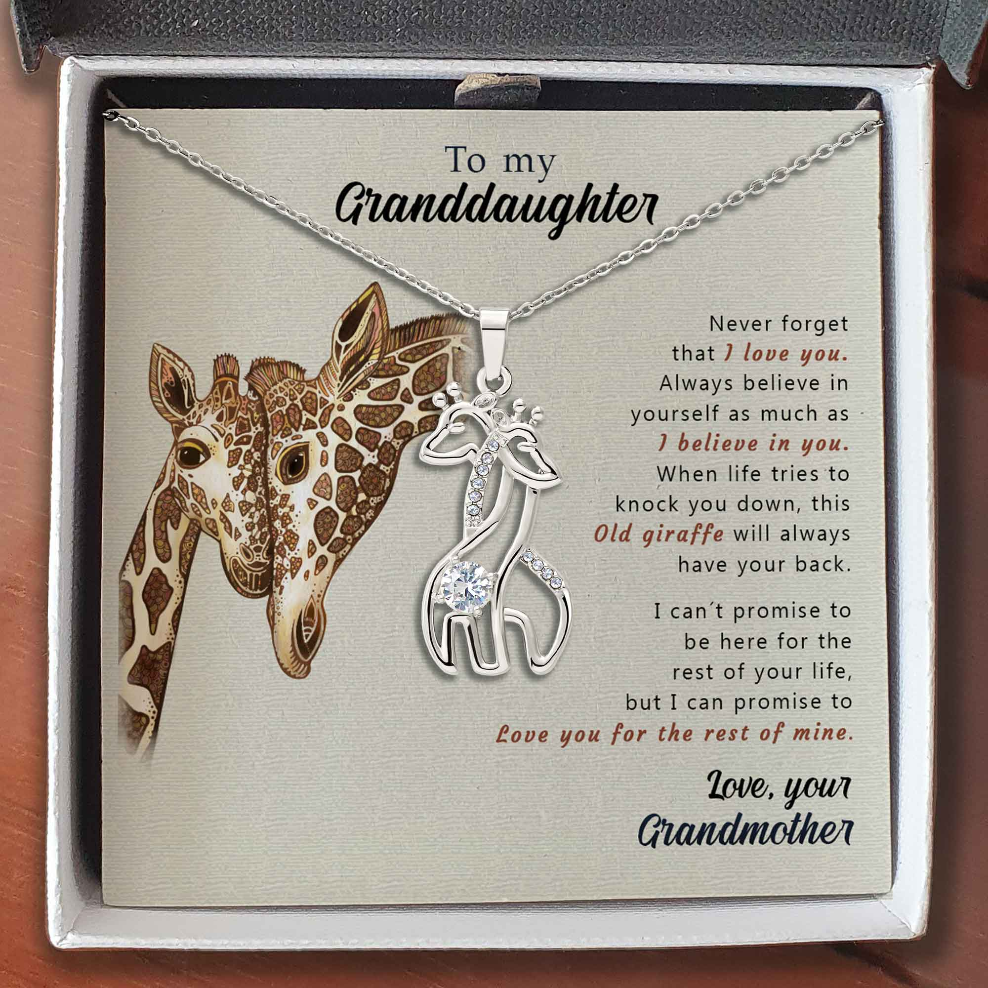 To My Granddaughter - Giraffes Necklace - This Old Giraffe Will Always Have Your Back