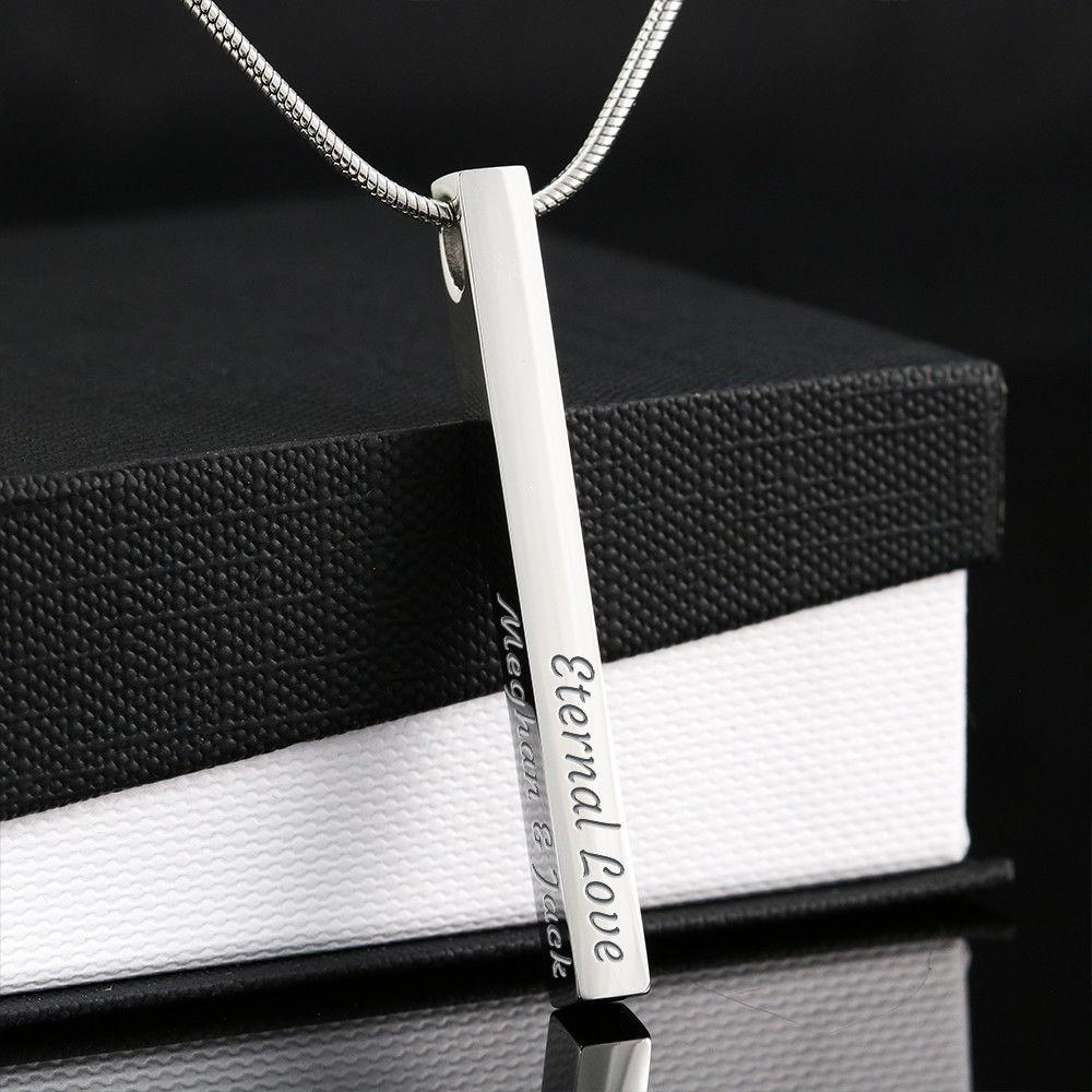 4 Sided Bar Customizable Name Necklace