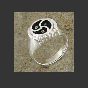 Deco Emblem Symbol Ring - Made in Sterling Silver or Gold