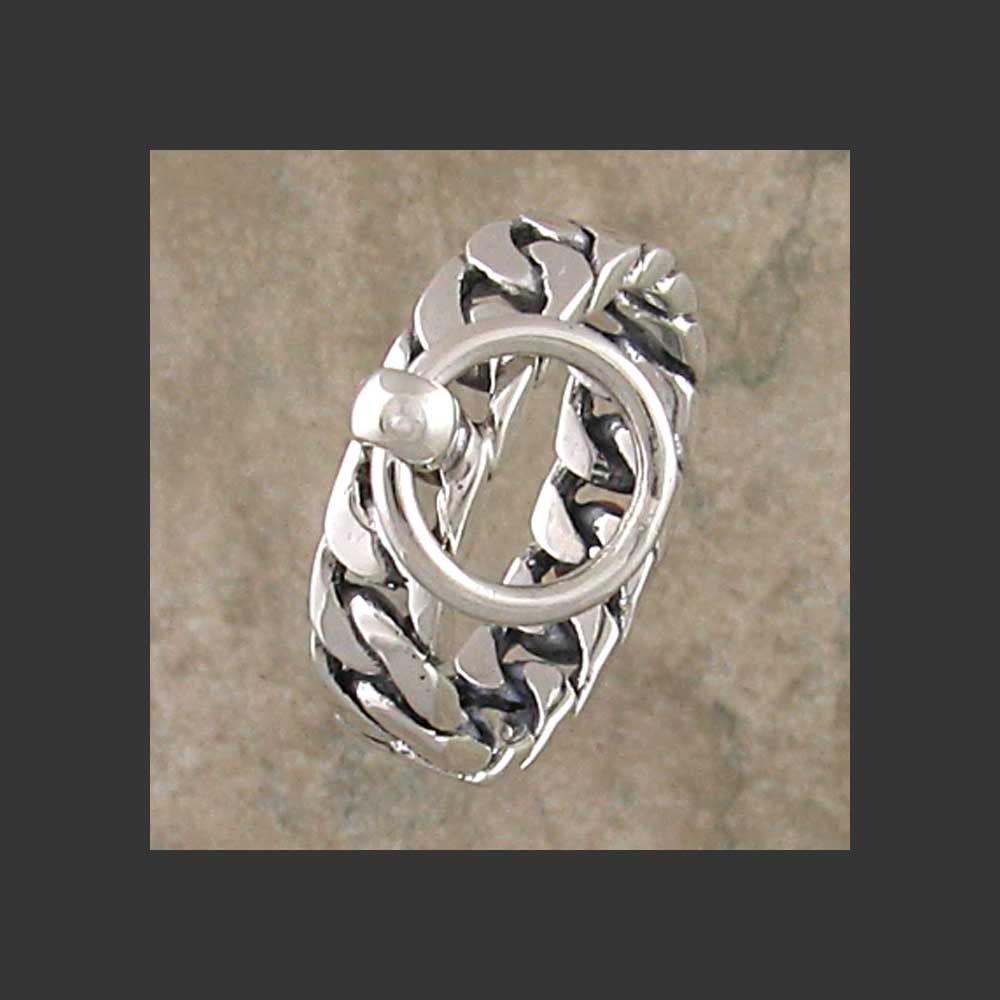 Flat Chain Link Story of O Slave Ring - Made in Sterling Silver