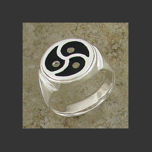 Large Classic Emblem Symbol Ring - Made in Sterling Silver or Gold
