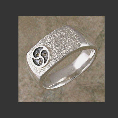 Low Profile Emblem Symbol Ring  - Made in Sterling Silver or Gold