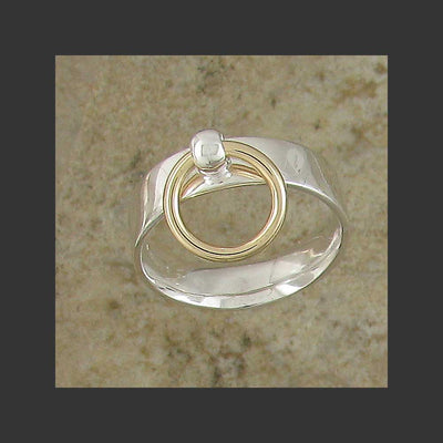 Medium Width Flat Story of O Slave Ring - Made in Sterling Silver