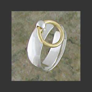 Medium Width Rounded Story of O Slave Ring - Made in Sterling Silver