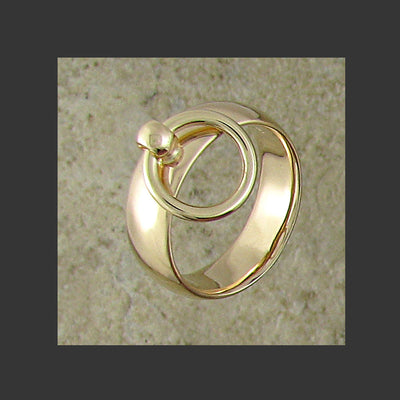 Medium Width Rounded Story of O Slave Ring - Made in Gold