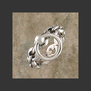Round Chain Link  Story of O Slave Ring - Made in Sterling Silver