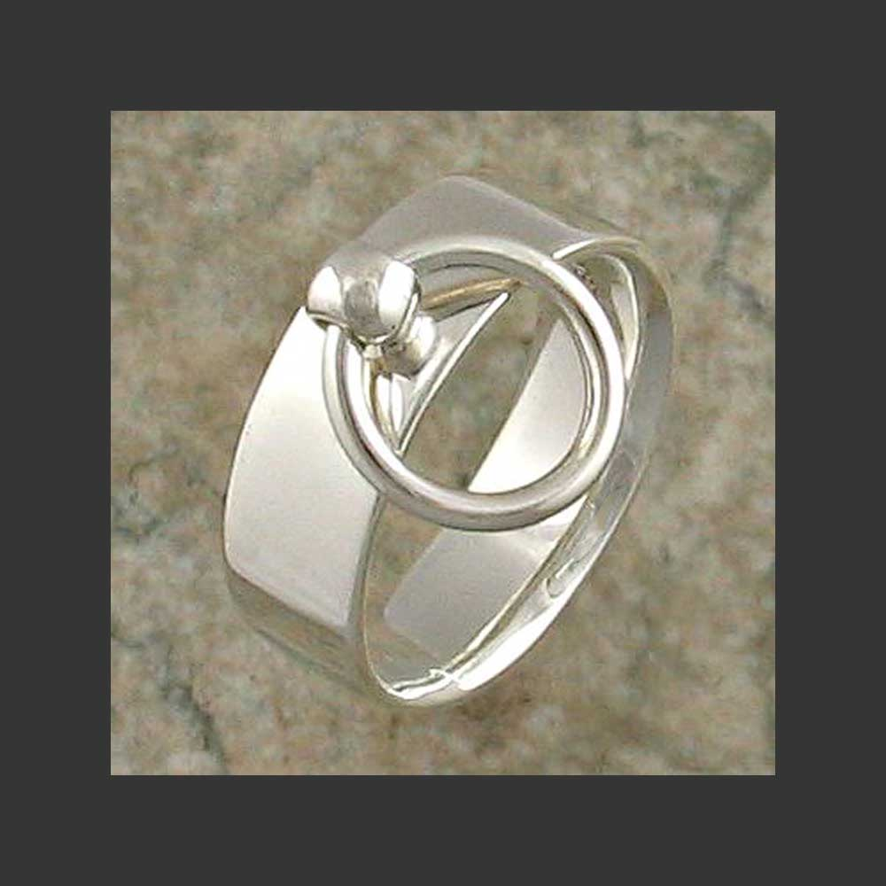 Wide Width Flat Story of O Slave Ring - Made in Sterling Silver