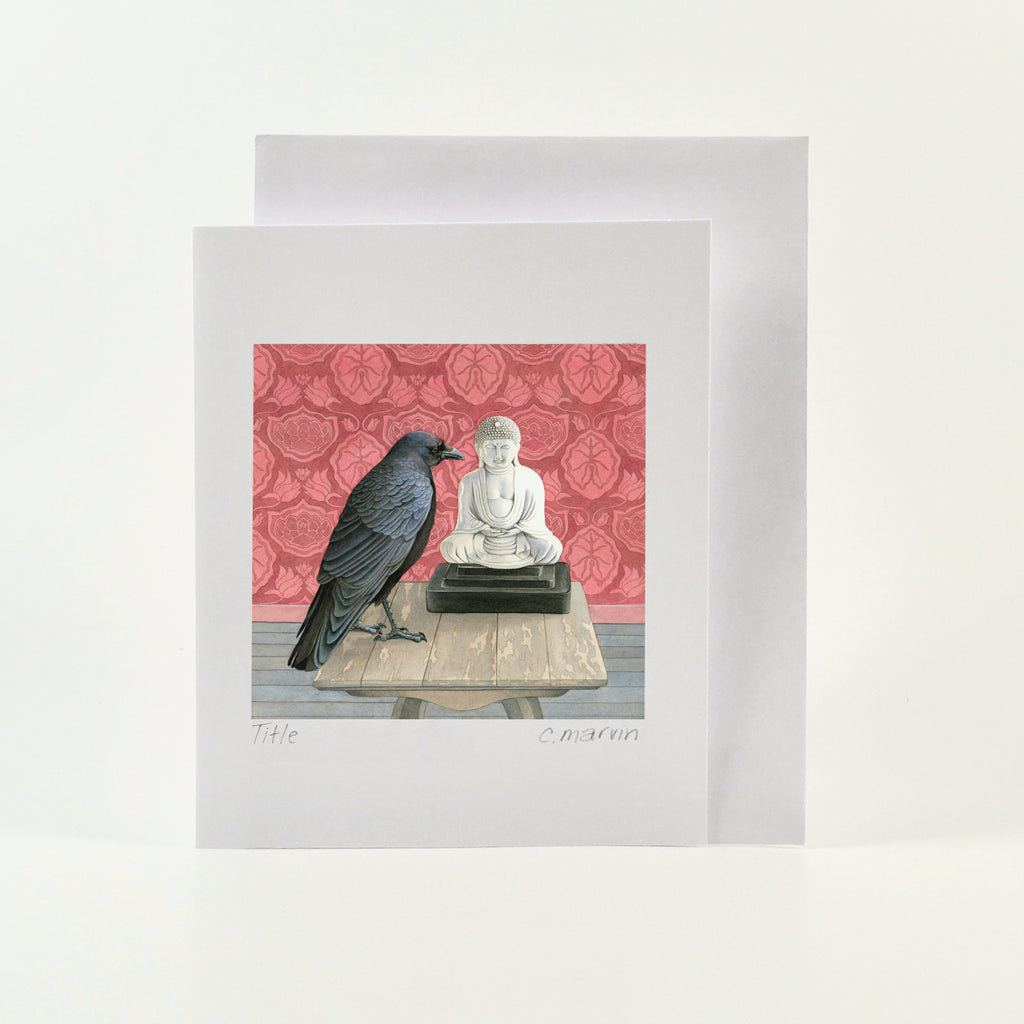 Crow Consults the Buddha - Wholesale Art Cards