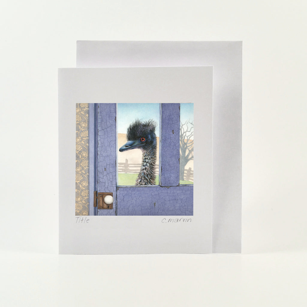 Emu at the Blue Door - Wholesale Art Cards