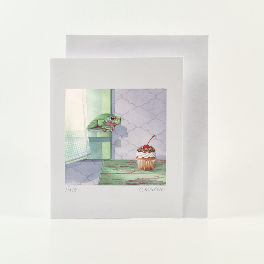 Frog Covets Cupcake - Wholesale Art Cards