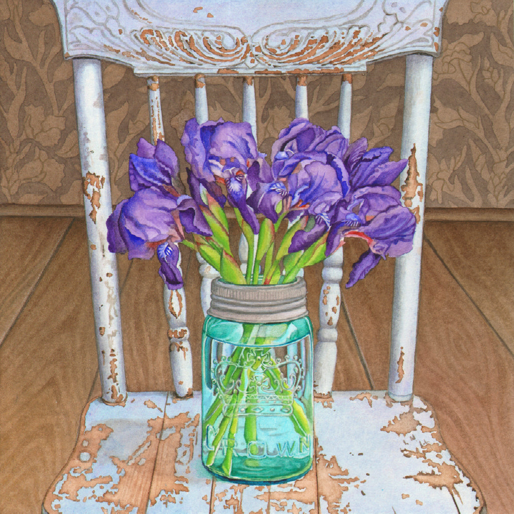 Irises on a Blue Chair
