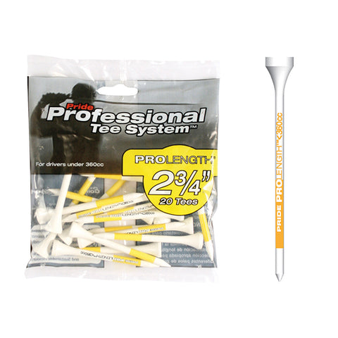 "Pride PTS 2 3/4"" ProLength Wood Tees - Yellow - 20ct"