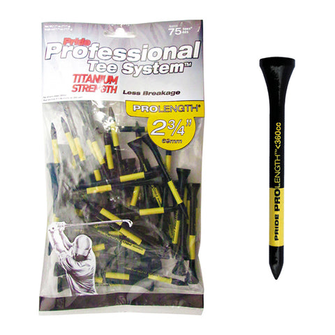 "Pride PTS 2 3/4"" ProLength Titanium Wood Tees - Yellow - 75ct"
