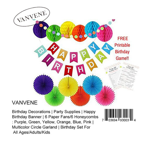 Vanvene Birthday Decorations | Party Supplies | Happy Birthday Banner | 6 Paper Fans/6 Honeycombs: Purple, Green, Yellow, Orange, Blue, Pink | Multicolor Circle Garland | Birthday Set For All Ages/Adults/Kids - B07C7G8TKV
