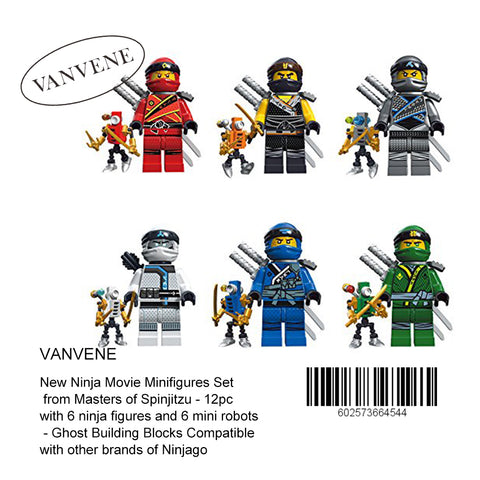 Vanvene New Ninja Movie Minifigures Set from Masters of Spinjitzu - 12pc with 6 ninja figures and 6 mini robots - Ghost Building Blocks Compatible with other brands of Ninjago