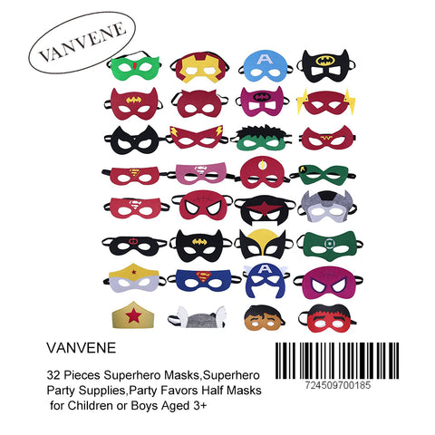 VANVENE 32 Pieces Superhero Masks,Superhero Party Supplies,Party Favors Half Masks for Children or Boys Aged 3+ -B077HVXTRW