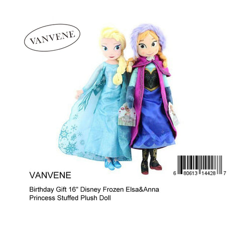 "Vanvene Vanvene  Seller Birthday Gift 16""  Elsa&Anna Princess Stuffed Plush Doll B01CUMP3YS"