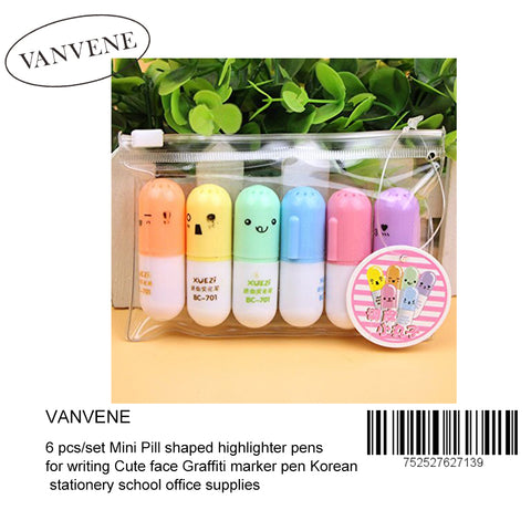 Vanvene 6 pcs/set Mini Pill shaped highlighter pens for writing Cute face Graffiti marker pen Korean stationery school office supplies (B01NA7EUJ2)