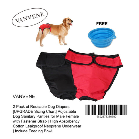 VANVENE 2 Pack of Reusable Dog Diapers [UPGRADE Sizing Chart] Adjustable Dog Sanitary Panties for Male Female with Fastener Strap | High Absorbency Cotton Leakproof Neoprene Underwear | Include Feeding Bowl-B01EVNFUFG