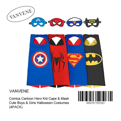 VANVENE Supreal Comics Cartoon Hero Kid Cape & Mask Cute Boys & Girls Halloween Costumes (4PACK)
