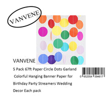 VANVENE 5 Pack 67ft Paper Circle Dots Garland  Colorful Hanging Banner Paper for  Birthday Party Streamers Wedding  Decor Each pack