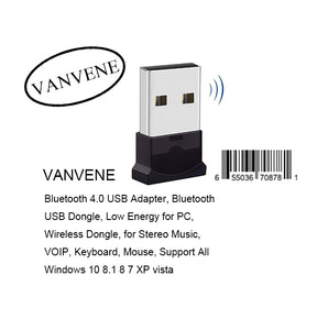 VANVENE Bluetooth 4.0 USB Adapter, Bluetooth USB Dongle, Low Energy for PC, Wireless Dongle, for Stereo Music, VOIP, Keyboard, Mouse, Support All Windows 10 8.1 8 7 XP vista