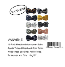 VANVENE 10 Pack Headbands for women Boho  Bands Twisted Headband Criss Cross  Head wraps Bows Hair Accessories  for Women and Girls (10p_102)