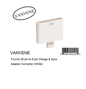 VANVENE Truwire 30 pin to 8 pin Charge & Sync Adapter Converter (White)