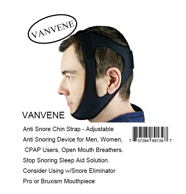 VANVENE Anti Snore Chin Strap - Adjustable Anti Snoring Device for Men, Women, CPAP Users, Open Mouth Breathers. Stop Snoring Sleep Aid Solution. Consider Using w/Snore Eliminator Pro or Bruxism Mouthpiece