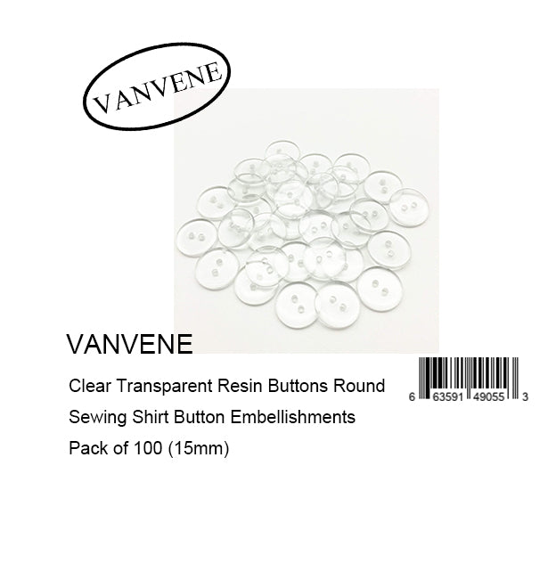 VANVENE Clear Transparent Resin Buttons Round Sewing Shirt Button Embellishments Pack of 100 (15mm)
