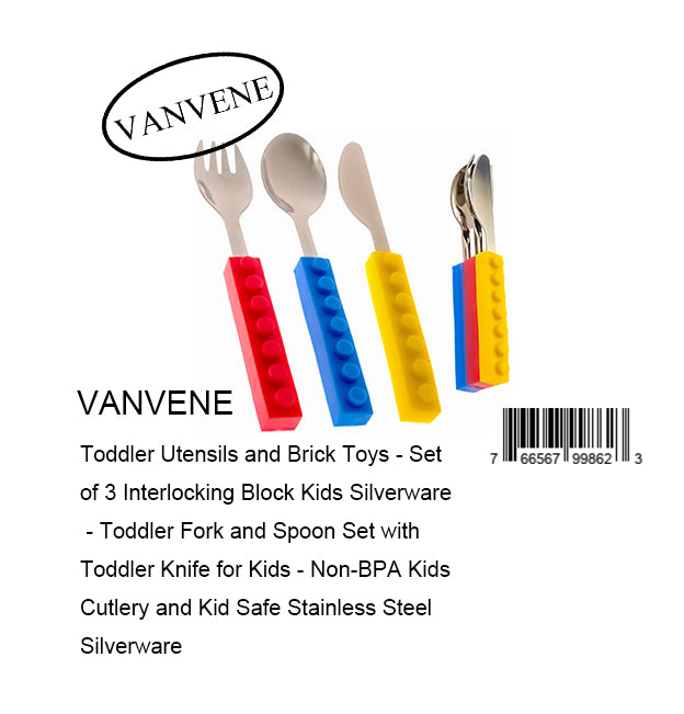 VANVENE Toddler Utensils and Brick Toys - Set of 3 Interlocking Block Kids Silverware - Toddler Fork and Spoon Set with Toddler Knife for Kids - Non-BPA Kids Cutlery and Kid Safe Stainless Steel Silverware