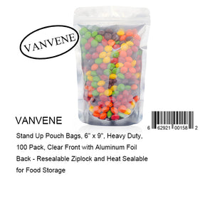 "VANVENE Stand Up Pouch Bags, 6"" x 9"", Heavy Duty, 100 Pack, Clear Front with Aluminum Foil Back - Resealable Ziplock and Heat Sealable for Food Storage"