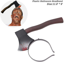 VANVENE Halloween Costume Scary Weapon Headbands, 4 Packs Rubber Plastic Knife Axe Cleaver and Scissor Through Head, Zombie Accessories Makeup for Teen Girls Boys Men Women Adults Clearance Gifts