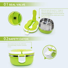 VANVENE Stainless Steel Insulated Square Lunch Box for Children, Kids and Adult, Portable Picnic Storage Boxes, School Student Food Container with Spoon (Green)