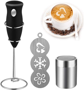 VANVENE Coffee Art Set, Coffee Milk Frother  Drink Mixer with Cocoa Chocolate  Shaker and Art Stencils for Cappuccino,  Coffee, Latte, Hot Chocolate, Cooking  (Includes Mini Mixer Stand)