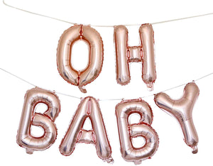 "VANVENE OH Baby Balloons Baby Shower  Decorations - 16"" Rose Gold Baby  Balloon Letters with Blow Up Straw  & 30 Feet of Hanging Ribbon – Inflatable  & Reusable Set of 6 Alphabetic Balloons"