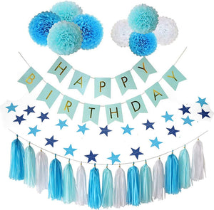 VANVENE Birthday Party Decorations, Birthday Party Supplies, Parlie 45pcs Party Decors and Supplies, Set includes Happy Birthday Banner, Paper Tassels, Pompoms and Garland Stars for Boys Blue