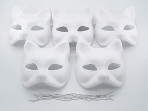 VANVENE  Fox Mask DIY Paintable Cosplay Accessories Mask for Party Masquerade Costume Halloween, Pack of 5