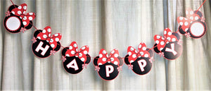 VANVENE Red Minnie Happy Birthday Banner  Red Bow Polka Dot Mini Mouse for  Kids Girls Boys Party Decorations
