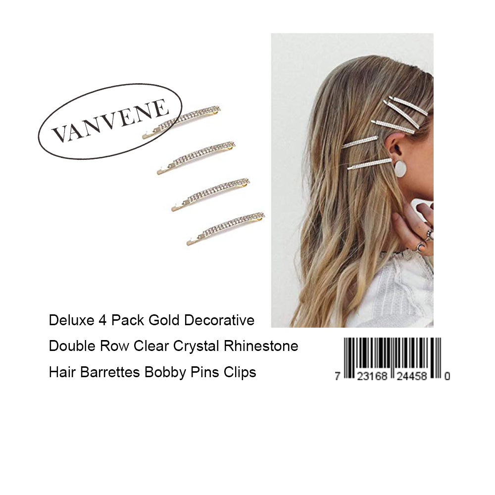 VANVENE Deluxe 4 Pack Gold Decorative Double Row Clear Crystal Rhinestone Hair Barrettes Bobby Pins Clips