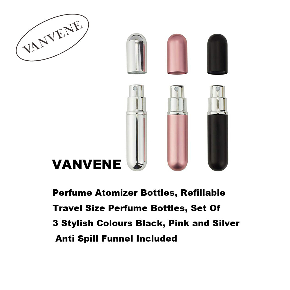 VANVENE Perfume Atomizer Bottles, Refillable Travel Size Perfume Bottles, Set Of 3 Stylish Colours Black, Pink and Silver Anti Spill Funnel Included