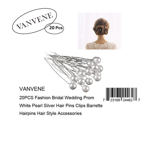 VANVENE 20PCS Fashion Bridal Wedding Prom White Pearl Silver Hair Pins Clips Barrette Hairpins Hair Style Accessories