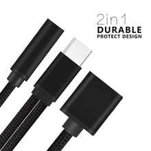 VANVENE Nylon Braided 2 in 1 USB C Type C to  3.5mm Headphone Audio Aux Jack & Charge  Adapter Cable Converter for Motorola Moto Z,  Letv Le Pro 3 and Other Mobile Phone That  Without 3.5mm Audio Jack