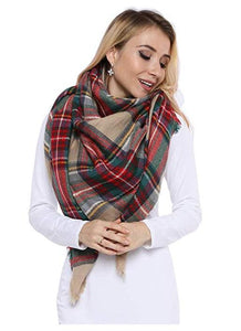 VANVENE Lady Women Blanket Oversized Tartan Scarf Wrap Shawl Plaid Cozy Checked Pashmina