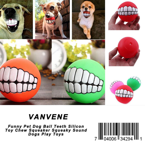 VANVENE Funny Pet Dog Ball Teeth Silicon Toy Chew Squeaker Squeaky Sound Dogs Play Toys
