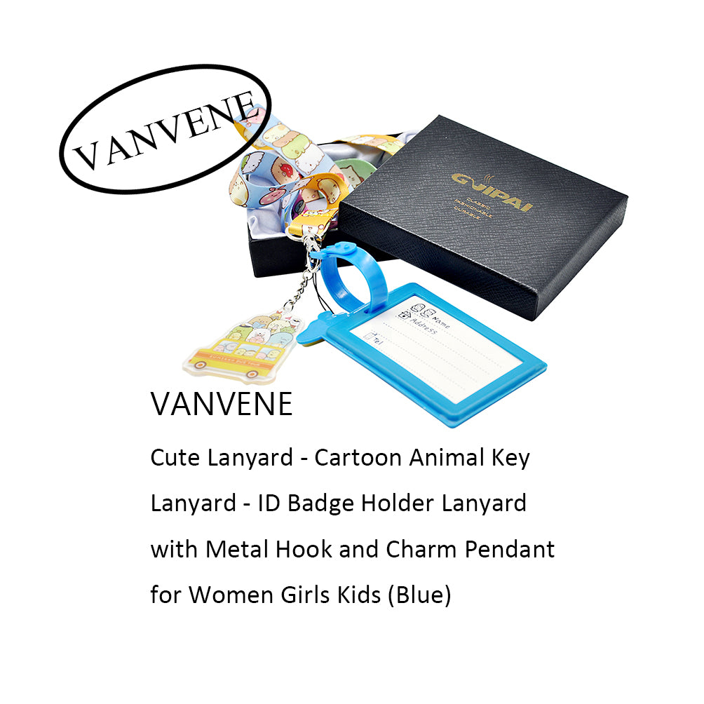 VANVENE Cute Lanyard - Cartoon Animal Key Lanyard - ID Badge Holder Lanyard with Metal Hook and Charm Pendant for Women Girls Kids (Blue)